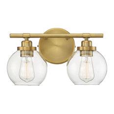 Carson 2 Light Bathroom Vanity Light in Warm Brass