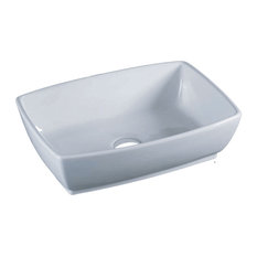 Vanity Tub Porcelain Rectangular Vessel Sink White Bathroom