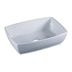 "Vanity Fantasies ""Tub"" Porcelain Rectangular Vessel Sink, White"
