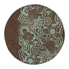"""Aschera Contemporary Area Rug, Blue and Brown, 7'9"""" Round"""