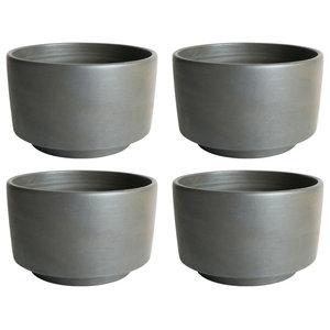 Black Ceramic Salad Bowls, Set of 4