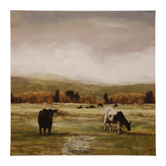 Cattle Graze I, Stretched Canvas, Hand Embellished, Traditional Farmhouse Print