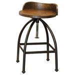 Crafters and Weavers - Ashland Low-Back Adjustable Height Bar Stool - The Ashland Collection is a blend of rustic wood and cast iron to create a high end Industrial chic look