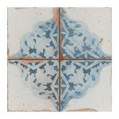 "13""x13"" Artesano Ceramic Floor/Wall Tiles, Set of 10, Azul Decor"