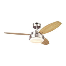 """Alloy Fan, Brushed Nickel Reversible Blades With Light Fixture Included, 42"""""""