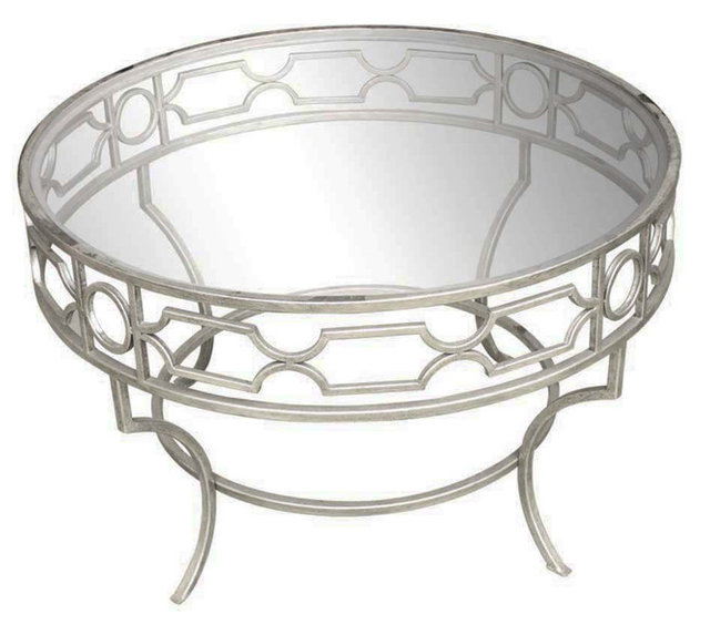 Cassia Cocktail Table Round Silver Contemporary Coffee Tables