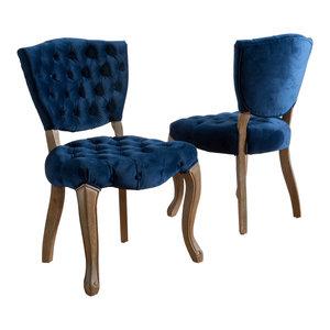 GDF Studio Elizabeth Tufted New Velvet Fabric Dining Chairs, Navy Blue, Set of 2