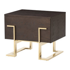 Modrest Moontide Modern Smoked Ash And Gold Nightstand