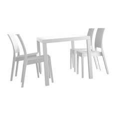 Orlando Wickerlook Square Dining Set 5 Piece With Florida Side Chairs, White