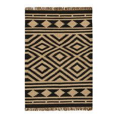 sai resources llc handwoven jute and wool diamond stripe rug beige and black - Black And White Rug