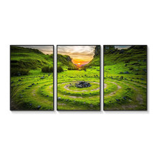 Modern Wall Art Beatiful Grassland Landscape With Black Frame 3 Panels