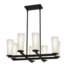 Sonneman 4928 High 8 Light Chandelier With Etched Cased Glass Shades