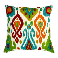 Pillows Inc 18 Outdoor Colorful Orange Red Teal Ikat Geometric Set
