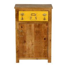 Layton Steam Punk Mango Wood 1 Drawer Freestanding Nightstand Cabinet