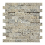Silver Travertine Brick Mosaic, 2x4, Split-Faced Mosaic Tiles, 10 SqFt