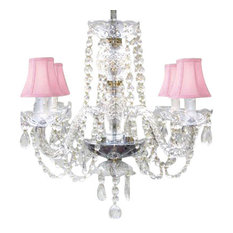 Chandelier Dressed With Swarovski Crystal and Pink Shades