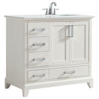 "Elise 36"" Bath Vanity, Soft White with Bombay White Engineered Quartz Marble Top"