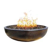 "48"" Concrete Fire Pit Bowl, Dark Bronze, Tumbled Lava Filling, Natural Gas"