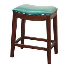 New Pacific Direct Inc Draper Leather Counter Stool Turquoise Bar Stools And