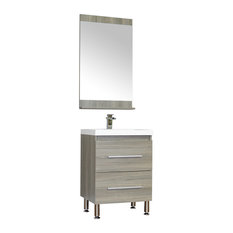 The Modern 24 inch Single Modern Bathroom Vanity in Gray without Mirror