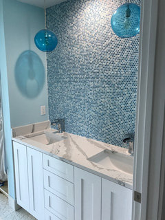 Lovely Love these bathrooms Love the colors used Check out a bathroom we just did that was very fun It us not plete waiting for a beautiful white mirror to