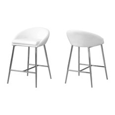 Monarch I 2294 2-Piece Kitchen Barstool Counter Height White/Chrome