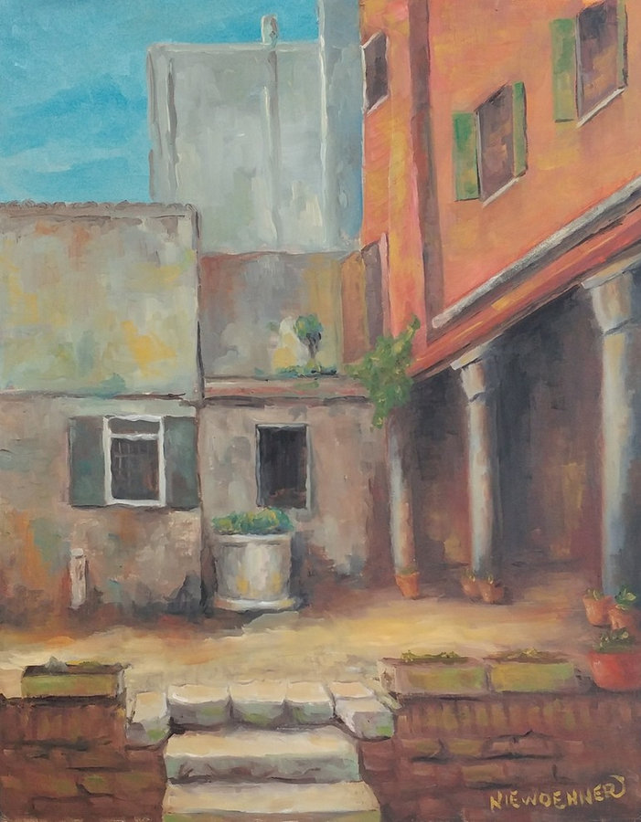 A Courtyard in Venice, 20x16, framed