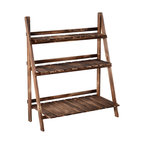 Outsunny 32x15 Wooden 3-Tier Ladder Plant Stand