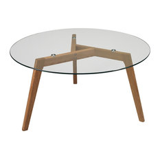 Natural Oak and Glass Top Round Coffee Table