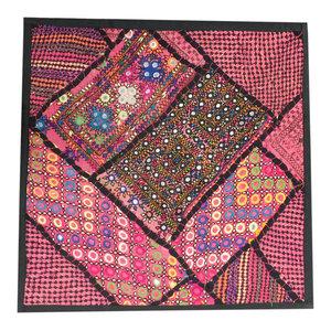 Mogulinterior - Indian Pillow Sham Banjara Embroidery Pink Mirror Work Wall Art - Decorative Pillows