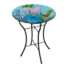 Teamson Design - Solar Dragonfly Glass Bird Bath - Bird Baths