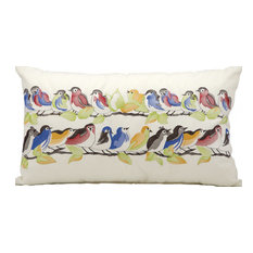 23 Birds on Wire Pillow, White
