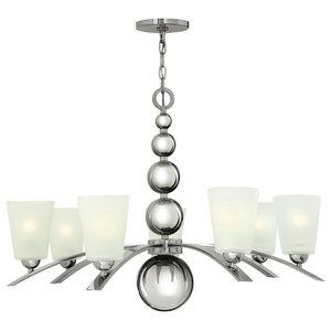7-Light Spheres Chandelier, Polished Nickel