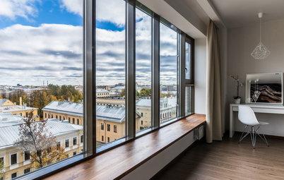 Houzz тур: Квартира с панорамными окнами и прозрачной гардеробной