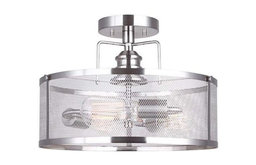 Canarm Beckett 3-Light Semi-Flush Mount With Metal Mesh Shade, Brushed Nickel