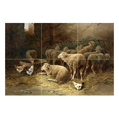 Tile Mural Kitchen Backsplash Sheep and Chickens in a Barn, Ceramic Glossy