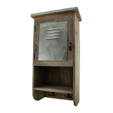 Rustic Reclaimed Wood Wall Cabinet w/Shelf and Hooks 20 in.