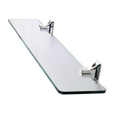 Modern Wall Mounted Storage Shelf, Tempered Glass With Chrome Plated Finish