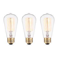 60W Vintage Edison S60 Squirrel Cage Incandescent Filament Light Bulb, Set of 3