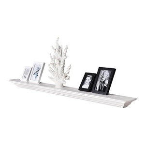 "Corona Crown Molding Floating Wall Shelf, 18"", White, 60"""