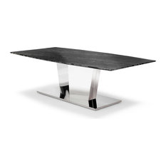 Zuri Furniture - Black and White Marble Brushed Stainless Steel Sirah Coffee Table - Coffee Tables