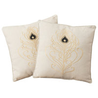 """18"""" Beige Whimsical Embroidered Throw Pillows, Set of 2"""