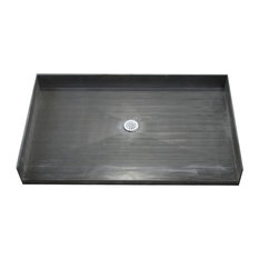 """Tile Redi 3760CBF 37"""" x 60"""" Three Wall Alcove Barrier Free Shower Pan with 2"""" C"""