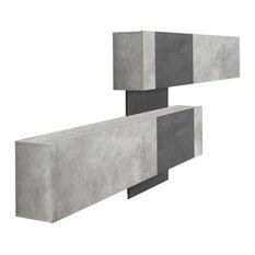 Cross Modern 2-Door Shoe Rack, Grey and Slate