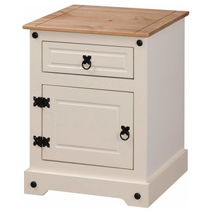 Traditional Side Table in White Painted MDF With Oak Table Top, Door and Drawer