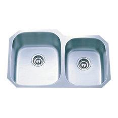 Gourmetier Undermount Double Bowl Kitchen Sink Satin Nickel GKUD3221