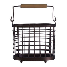 Metal and Wood Kitchen Utensil Holder/Storage Basket With Handle, Black/Brown