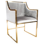 Statements by J - Erin Gold Dining Chairs, Set of 2 - The Erin Gold Dining Chairs feature a gilded chrome frame with a gray velvet upholstery. The symmetrical form and narrow frame allow this contemporary piece to accent any living space. The rounded armrests complement the chic style and light hues of the velvet, lending to a more luxurious experience.