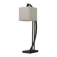 Arched 1-Light Table Lamp Madison Bronze Natural Linen Shade