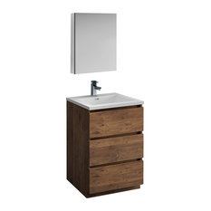 Lazzaro 24-inch Rosewood Free Standing Bathroom Vanity With Medicine Cabinet